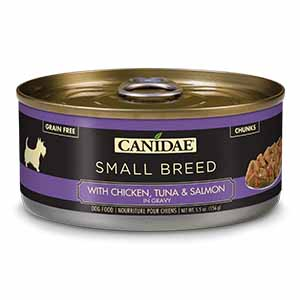 CANIDAE Grain-Free PURE Petite Chicken, Tuna & Salmon in Gravy Limited Ingredient Small Breed Canned Dog Food, 5.5-oz, case of 24